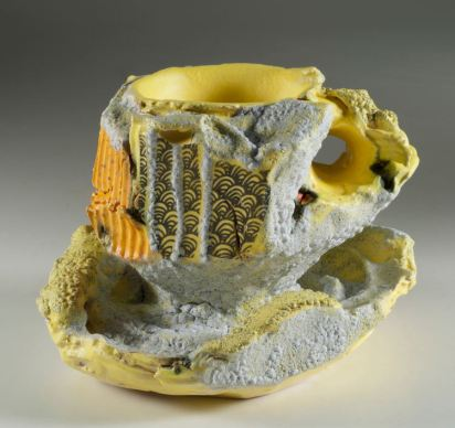 Barbara Tipton. RIVULETS WITH YELLOW PASSAGE. 2013. Multifired, multiglazed clay with stains, decals. 7 x 19 (from handle on left) x 13cm. Collection: Alberta Foundation for the Arts.