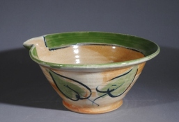 Barbara Tipton.  Batter Bowl, soda-glazed stoneware, handpainted, 11.3 x 25.4 cm.