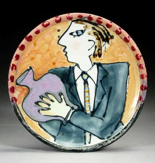 Barbara Tipton. The Collector. (ca. 1986  porcelain, with slip, underglazes and glaze, 23cm. Selfridge Collection, Edmonton. Photo: Carol and Richard Selfridge.