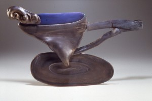 Barbara Tipton. 1989. Bronze Cup with Blue Interior, wheel thrown stoneware, 32 cm wide, altered, deliberately broken and reassembled, cone 6 firing.
