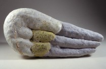 Barbara Tipton. 2000. Grey Terminus, handbuilt stoneware wall piece, 57 x 26 x 11 cm, multiglazed.