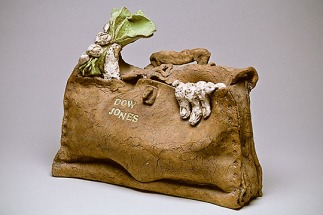 Victor Cicansky. Dow Jones Bag , 1968 stoneware with fibreglass, low-fire glaze. 32 x 41.3 x 21 cm Collection of the MacKenzie Galler