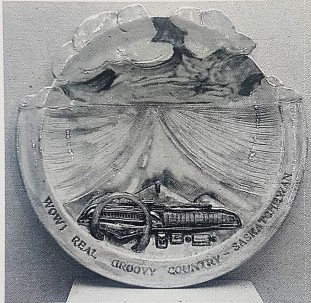 "Victor Cicansky ""Wow! Real Groovy Country Saskatchewan."" Plate. Private Collection. From Victor Cicansky: Clay Sculpture . by Bruce Ferguson."