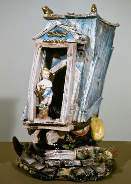 Victor Cicansky. 1973. Singing the Joys of an Agrarian Society. Clay, glaze, plastic flowers. 48.9 x 34.9 x 34.3 cm.