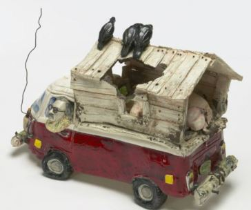 Victor Cicansky. VW Bus with Pig, 1974 . earthenware, glaze, mixed media. 27 x 43 x 19 cm . The Canada Council Art Bank.