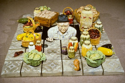 Victor Cicansky. Root Cellar. Clay, glaze. 213.4 x 152.4 x 61 cm. 1982