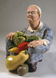 Victor Cicansky. 1985. Armchair Woman with Vegetables. Clay, glaze. 47 x. 33 x 36.8 cm.