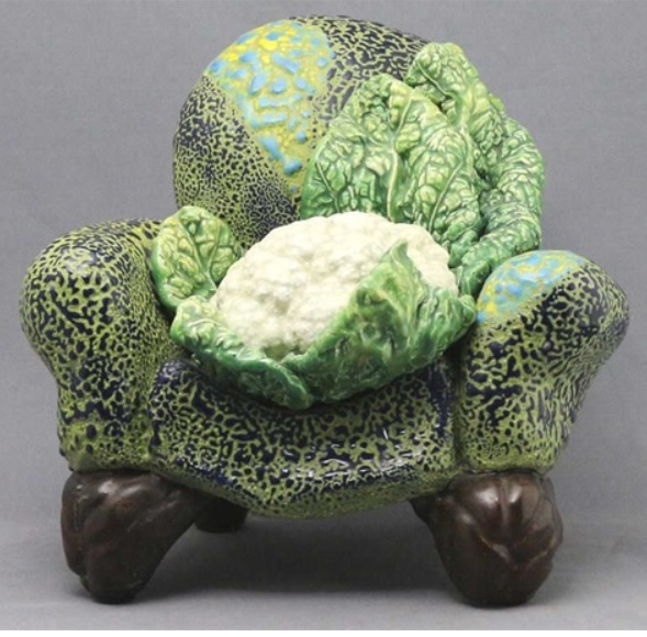Victor Cicansky. 1988.:Cauliflower in repose. Glazed clay.26.7 x 30.5 x 25.4 cm