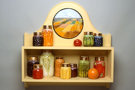 Victor Cicansky. 2000. Colour Fields Pantry. Clay, glaze, wood, paint .86.4 x 66 x 17.8 cm.