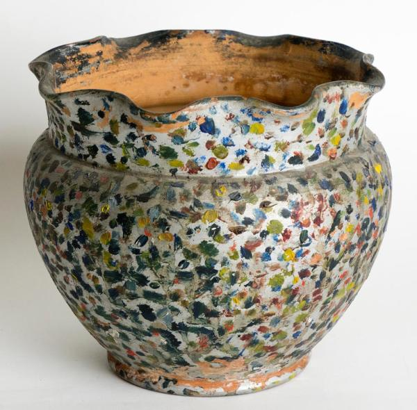 """Description: PETER RUPCHAN (Ukrainian/Canadian, 1883-1944) """"Colourful Pot With Scalloped Rim"""" - Clay pot with applied paint. 7 x 8 x 8 in."""
