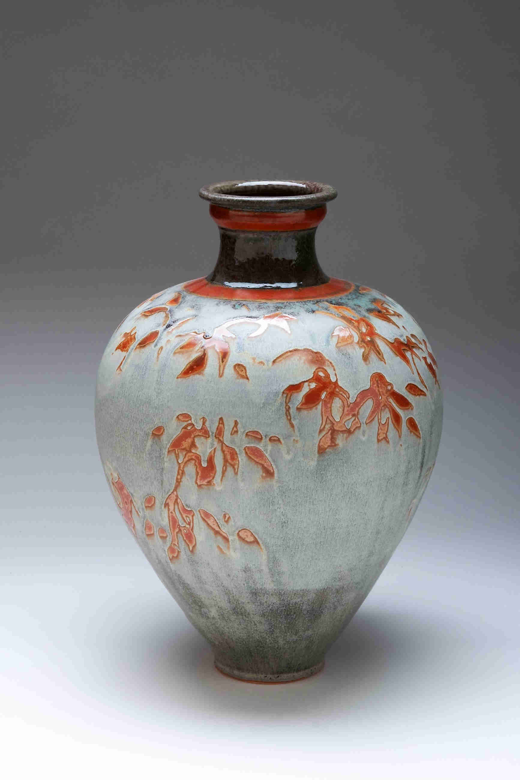 Valerie Metcalfe. 2013. Leaves in the Mist. Grey painted vase. Porcelain,. 40.6 cm h.