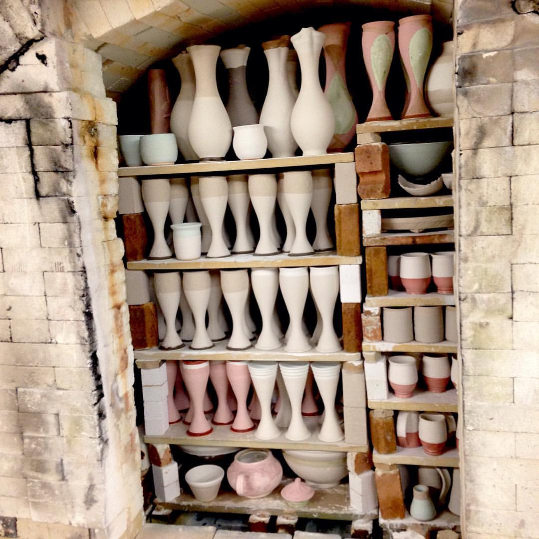 The Stoneware studio kiln ready to be bricked up.