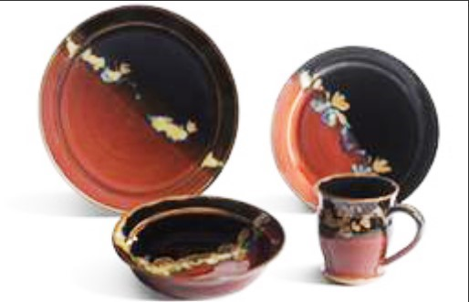 Donn Zver. Dinnerware set. Copper red sand black.