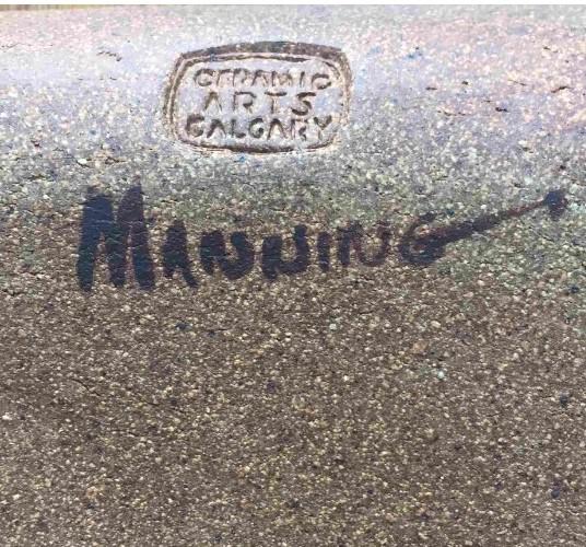 "Les Manning. 1966-68. Ceramic Arts Calgary mark and ""Manning"" hand written, post-firing, in black ink. Photo credit Duncan Farnan."