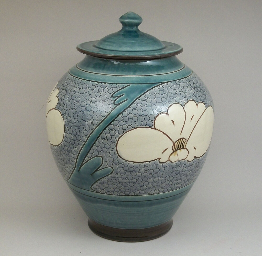 Birdsall Worthington. Urn 26.7 cm) In the combined style of two of types of Chinese pottery: Tang Dynasty and Ts'u-chou utilitarian wares.